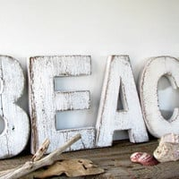 White Barn Wood BEACH sign- White Shabby Chic Decor- Beach Cottage Signs