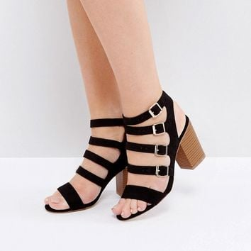 New Look Multi Buckle Detail Heeled Sandal at asos.com