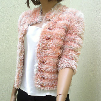 Knitted womens jacket, cropped jacket, chunky sweater, bolero, 3/4 sleeved, sexy, in any colors, womens clothing