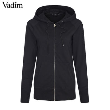 Women basic loose Zip-up Hoodie thick Fluffy Fleece solid casual plussized long sleeve casual Roupas Femininas tops ZC051