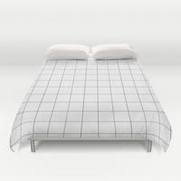 Thick windowpane grid Duvet Cover by Milk-0