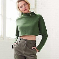 Army green turtleneck curling loose navel sweater 171117