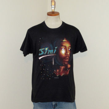 Vintage Deadstock 1986 JIMI HENDRIX GRAPHIC Guitar Rock Music Black Medium Large Screen Stars Rare 50/50 T-Shirt
