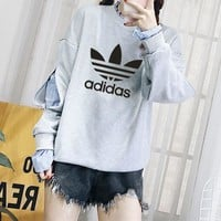 """Adidas"" Women Casual Long Sleeve Letter Stripe Shirt False Two-Piece Sweater Tops"