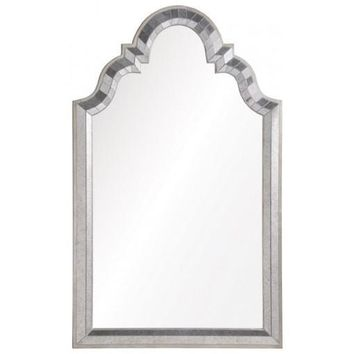 Antiqued Mirror Framed Mirror with Antiqued Silver Leaf Sides