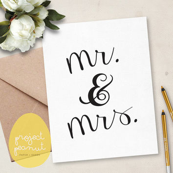 Printable Congratulations Mr & Mrs Wedding Card [Instant Download]