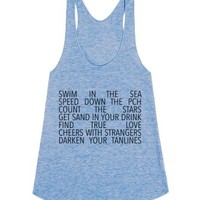 California To Do llist / All things Cali-Female Athletic Blue Tank