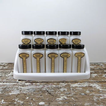 Atomic Griffith's Spice Rack Black and White  Spice Rack Milk Glass Shakers Mid Century Kitchen