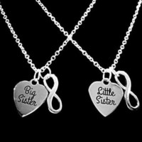 Little Sister Big Sister Heart Infinity Sisters Gift Charm Necklace Set