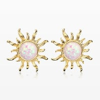 A Pair of Golden Blazing Sun Opal Sparkle Stud Earrings