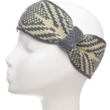 Grey and Beige Knit Head Wrap