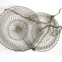 Vintage Wire Mesh Hanging Baskets // gold colored metal // 2 tiers baskets