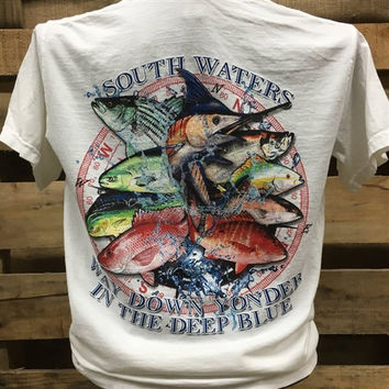 Backwoods South Waters Way Down Yonder Fish Pocket Comfort Colors Bright Unisex T Shirt