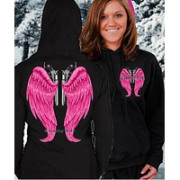 Country Life Outfitters Wings Guns Vintage Black & Pink Bright Girlie Hoodie