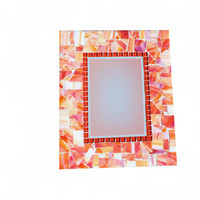 Orange Stained Glass Mosaic Wall Mirror