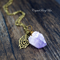 Raw Amethyst Necklace - Long Amethyst Point Necklace -  Rough Amethyst Necklace -  February Birthstone - Peacock Charm