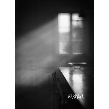 Glass Bowl Fine Art Photography Black and White minimal photography still life dramatic light smokey air spooky haunting sunlight moody art