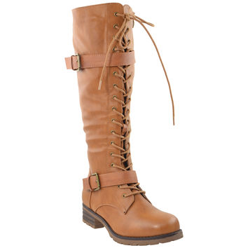 Womens Lace Up Knee High Leather Boots Camel