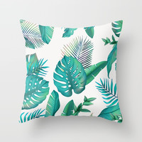 Tropical leafs pattern Throw Pillow by printapix