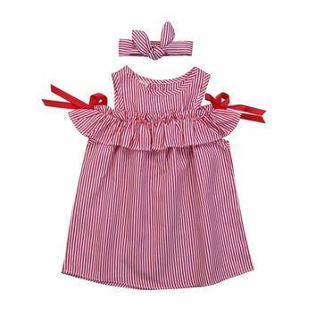 2PCS Baby Girls Princess Dress Kids Stripe Dress Tutu Skirt+Headband Outfits Set