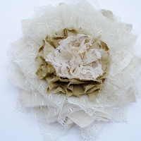 Ivory Cream flower, Shabby Chic, Boho, Antique inspired flower, tea stained, Wedding Bridal Sash