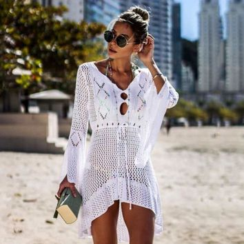STYLEDOME Women's Hollow Out Flare Sleeve Waisted Swimwear Swimsuit Cover Up Knitted Crochet Beach Dresses 2019 Summer Ladies Cover-Ups