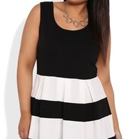 Plus Size Skater Dress with Striped Pleated Skirt