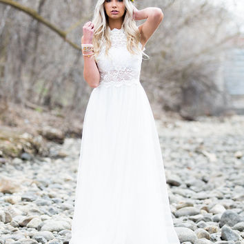 The Most Beautiful Day Lace Tulle Dress White