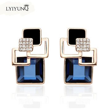 Hot Fashion Brincos Vintage Long Crystal Earring Big Geometric Stud Earrings For Women Gold-Color Zinc Alloy Indian jewelry