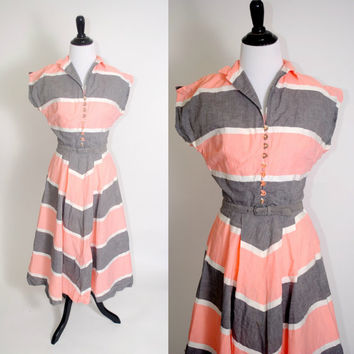 Vintage 1950s Pink Grey Gray CHEVRON Striped button down Full Skirt Metal Zipper Belted Day Dress