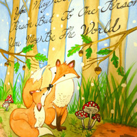 Foxes in the Woods Valentines Watercolor Poster Print, Love Quote Valentines Day Fox Poster