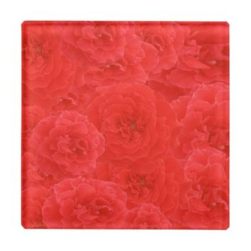 Stylish Vintage Red Garden Rose Blossoms Custom Glass Coaster