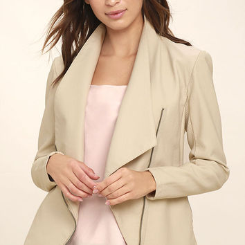 BB Dakota Laverne Light Beige Vegan Leather Jacket