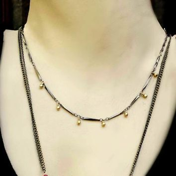 Black Bar Chain Gold Filled Dangling Bead Choker Necklace,