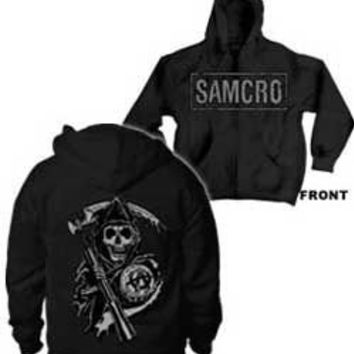 Sons of Anarchy Samcro Boxed Reaper Black Adult Zip-Up Hoodie Hooded Sweatshirt - Sons of Anarchy - | TV Store Online