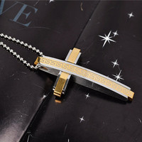 Fashion brand titanium steel greatwall charms Cross pendant necklace silver/gold/black/blue men chunky metal rock cross necklace jewelry