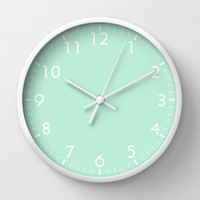 Mint Green Wall Clock by BeautifulHomes | Society6