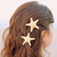 3'' Huge Pretty Natural Starfish Star Hairpin Hair Clip Beige