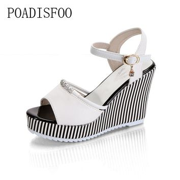 POADISFOO summer women's platform wedges Waterproof Sandals 10cm Super high heel women Shoes Gingham PVC Sandals.HYKL-922