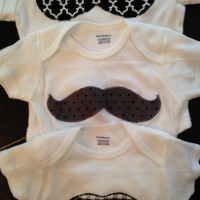 Black & White Mustache Onesuit 3 Pack