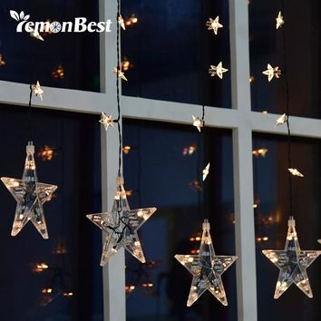 LED Stars Curtain Light Waterproof 36-Star Fairy String Lamp for Garden Home Patio Lawn Wedding Decoration Christmas Party