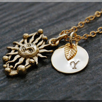 Gold Solar System Charm Necklace, Initial Charm Necklace, Personalized, Sun and Space Pendant, Solar System Jewelry, Monogram Necklace