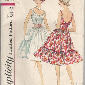 1960s Short Flirty Cocktail Dress Simplicity 3470 Rockabilly Dress with Full Skirt and Low Round NeckBust 32 Vintage Sewing Pattern