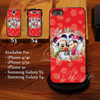 Mickey and Minnie Mouse Disney Christmas Design for iPhone 4, iPhone 4s, iPhone 5, Samsung Galaxy S3, Samsung Galaxy S4 Case
