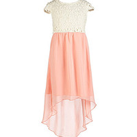 Ruby Rox Plus Crocheted-Bodice Hi-Low-Hem Dress - Apricot