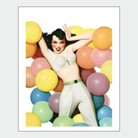 Balloon Party Vintage Pin Up Girl Poster Print