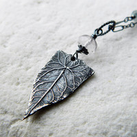 Elven Leaf with palest Amethyst - Fine Silver Real Leaf Pendant by Quintessential Arts