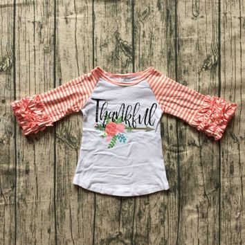 fall/winter baby girls thanksgiving coral cotton icing sleeve top t-shirt stripe raglans thankful floral arrow children clothes