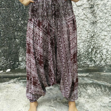 Brown Harem Pants genie Pants Drop Crotch Elephants Aztec Boho Bohemian pattern hippies Gypsy Tribal Fashion Vegan Style Clothing Clothes