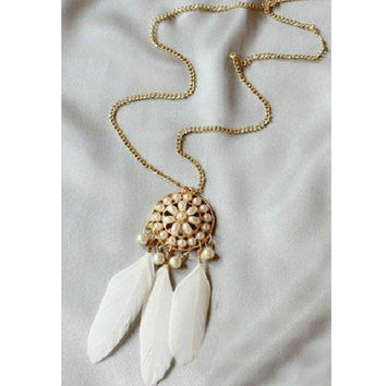 White Pearl Feather Necklace